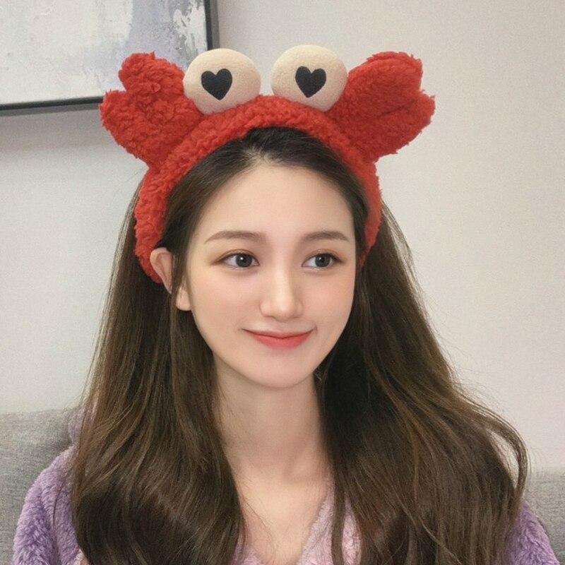 Yeni kadın kızlar sevimli renkli yengeç peluş kafa güzel saç süsü türban Selfie sahne Hairbands moda saç aksesuarları