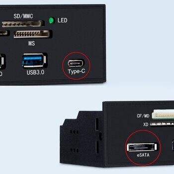 רב-יציאת מחשב לוח קדמי פנימי USB3.0 ESATA סוג-C TF SD כרטיס קורא רכזת