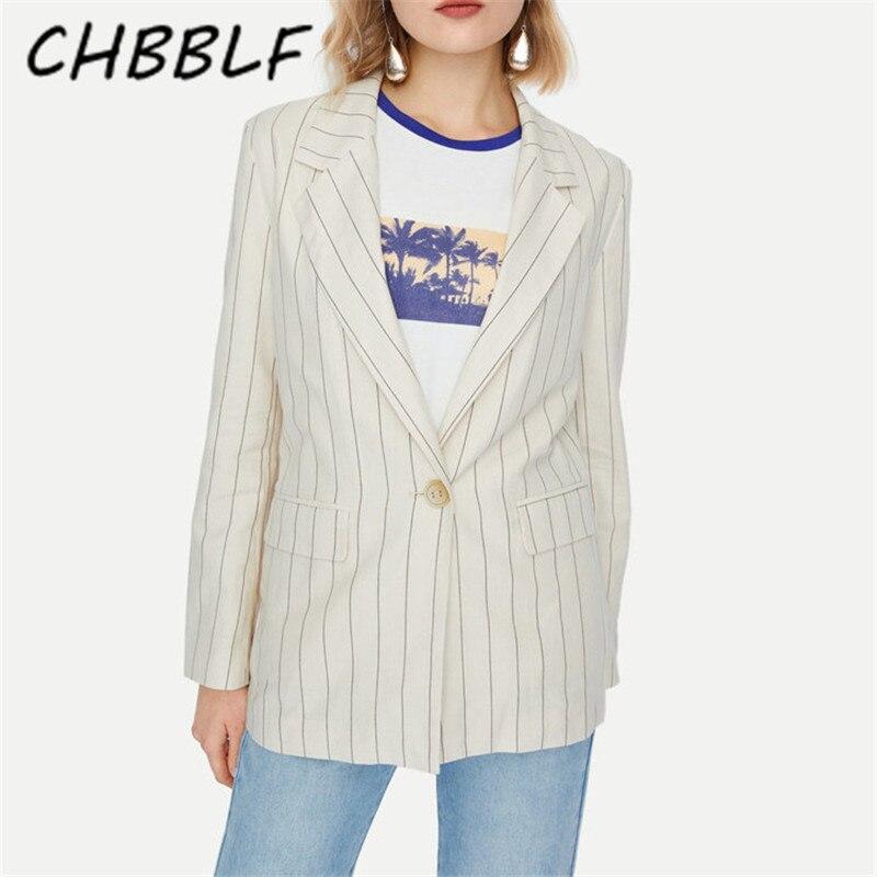 CHBBLF Women Elegant Stripe Blazer Pockets Single Breasted Long Sleeve Office Wear Coat Female Casual Outerwear Chic Top DFT2734
