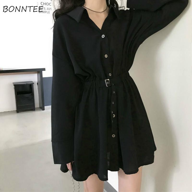 Dress Women Pure Turn down Collar Button Long Sleeve Collect Waist Elegant Fashion Black Clothing Fall 2020 Hepburn Vestido Chic
