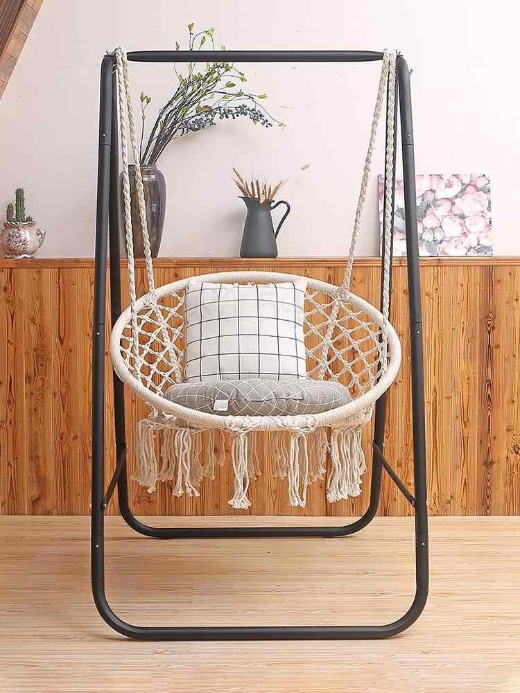 Hängen stuhl fransen wohnzimmer indoor homestay cradle baumwolle seil korb Nordic ins faul vibrato net rote schaukel