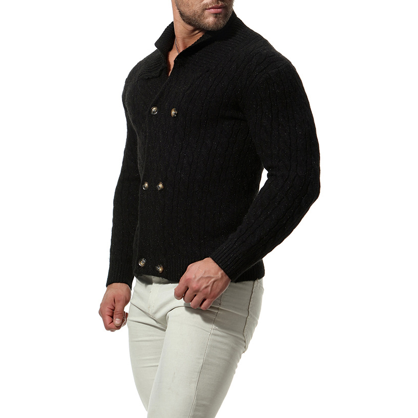 New  Slim Men Knit Lapel Long Sleeve  Solid Color Regular Sweater