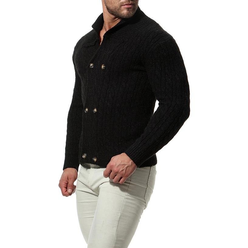 New  Slim Men Knit Lapel Long Sleeve  Solid Color Regular Sweater