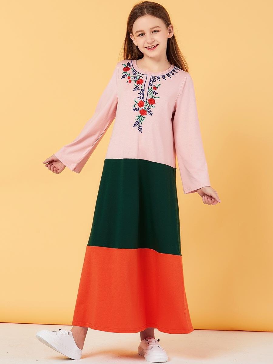 Abaya For Kids Hijab Muslim Dress Girls Kaftan Dubai Abayas Turkish Dresses Islam Caftan Qatar Tesettur Elbise Islamic Clothing
