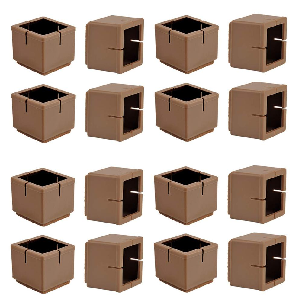 16Pcs Chair Leg Floor Protectors Brown Silicone Table Furniture Leg Feet Caps Felt Pads Prevent Scratches Wood Floor Protector