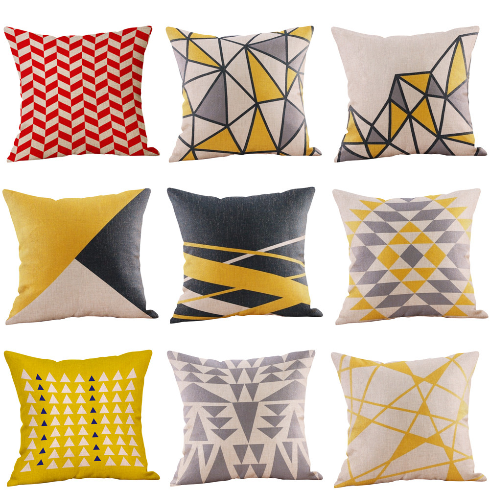 Mustard Pillow Case Yellow Geometric Striped Fall Autumn Cover Washable Square Decorative Living Room  Pillow Cover #45