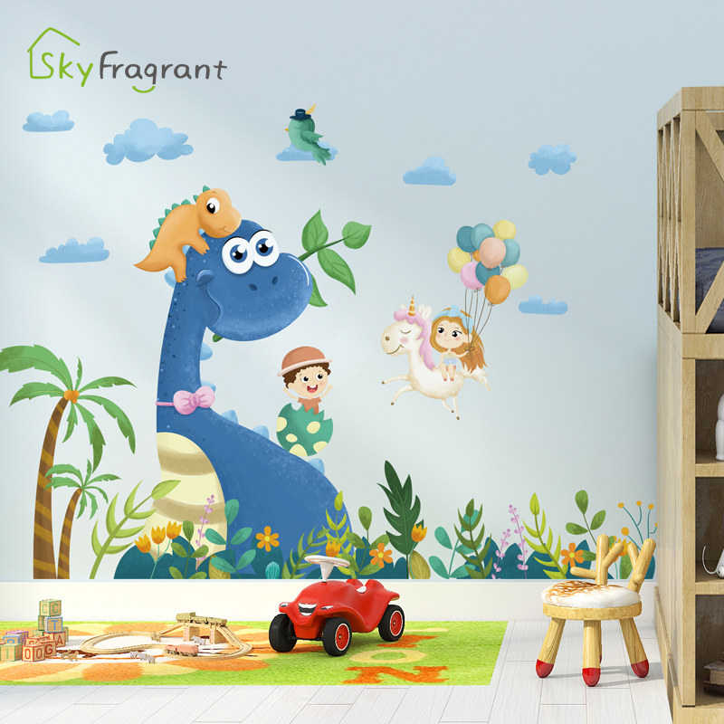 16 Dinosaur wall stickers wallpaper bedroom child Decal cars cartoon