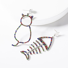 2019 Trendy Asymmetry Animal Cat And Fish  Acrylic Multicolored Rhinestone Crystal Statement Drop Dangle Earrings For Women