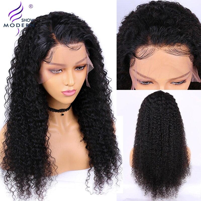 Moderno mostrar o cabelo 13*4 brasileiro encaracolado frente do laço perucas de cabelo humano pré arrancadas 150% densidade peruca dianteira do laço para preto feminino remy