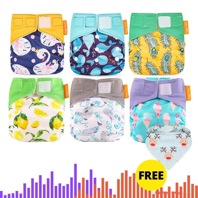 Happy Flute Wholesales Cloth Diaper  Heavy Wetter AI2 Cloth Diaper  Waterproof Resuable Baby Diaper .OS Diaper 6pcs Pack