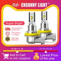 CNSUNNYLIGHT H11 H8 samochodowe światła przeciwmgielne led żarówki H9 H16 9005 9006 2400Lm 6000K biały 3000K żółty 8000K niebieski Auto DRL Foglamp 2 sztuk