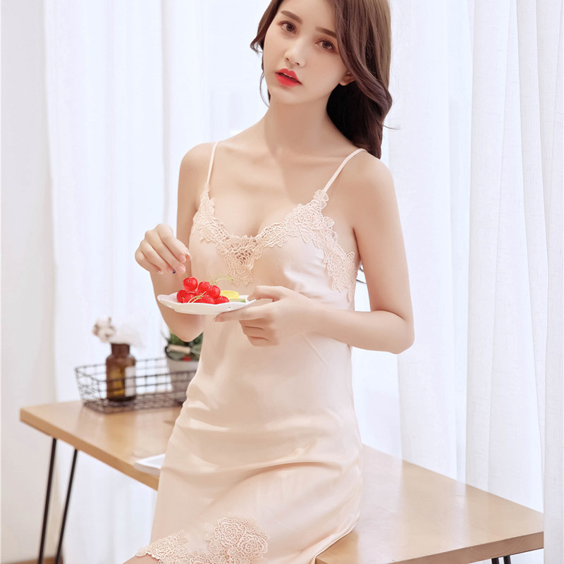 New Style With Chest Pad Nightgown Women's Sexy Lace V-neck Solid Color Summer Camisole Model Silk Pajamas