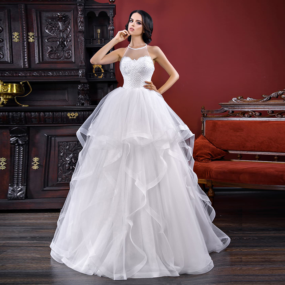 2020 New Arrivals Floor Length None Train A-line Wedding Gowns Abiti Da Sposa O-neck Backless Beading Appliques White Dresses