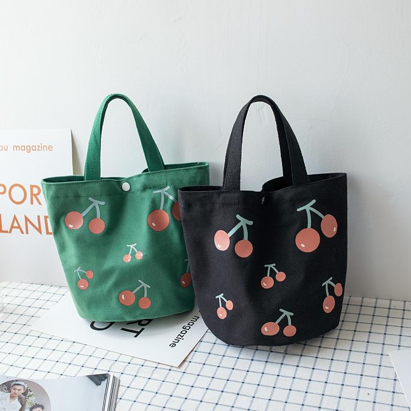 New Korean Canvas Lunch Bag Lovely Cherry Print Women's Bucket Tote Bag Cute Portable Lunch Box Food Storage Bags Handbag Travel