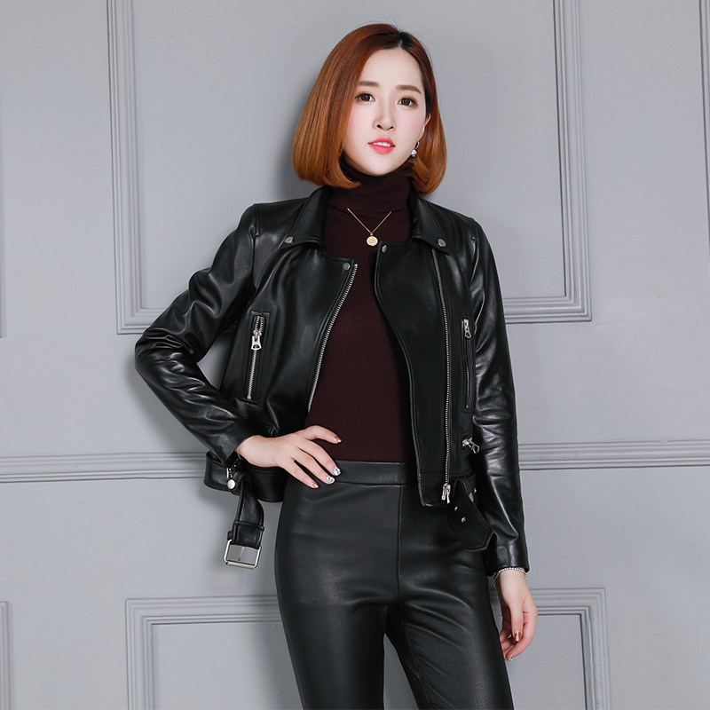Genuine Leather Jacket Women Fashion New Turn-down Collar Casual Moto Short Slim Coat Office Lady Zip Sheepskin Leather Jacket