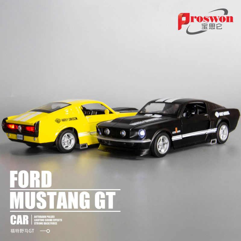 1:32 wysoka symulacja Ford GT-1967 model samochodu symulacja 4 drzwi otwarty dźwięk i światło wycofać zabawkowy modelu samochodu dekoracji na prezenty