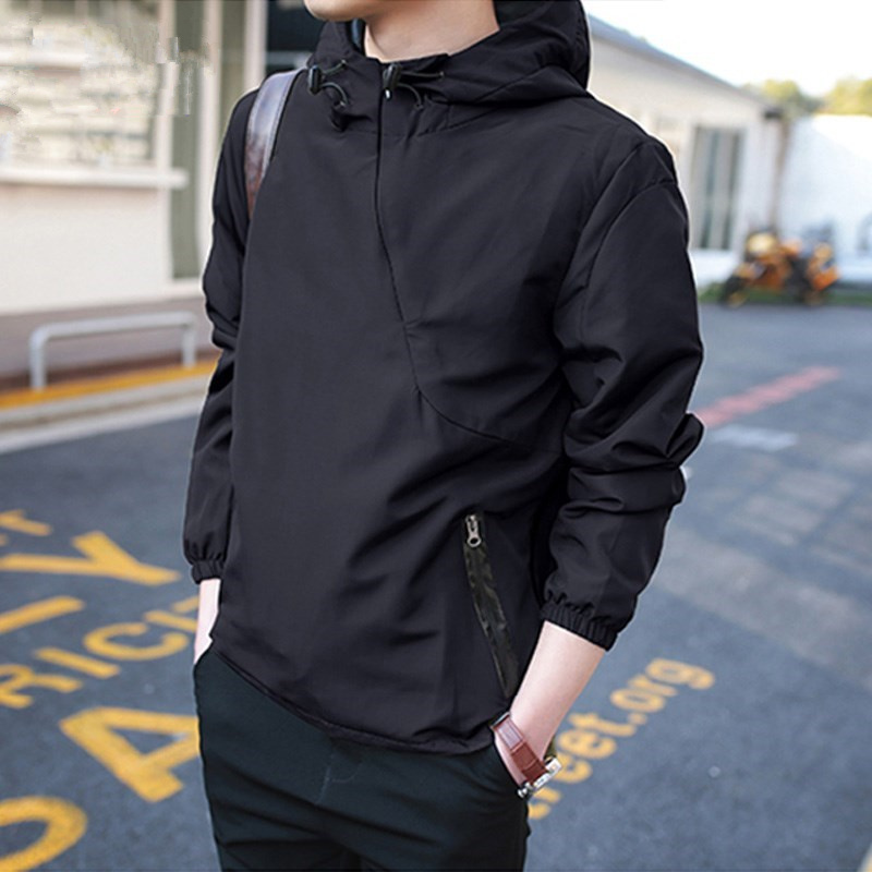 Casual Men Hoodies Autumn Solid Army Green Black Bomber Jacket Fashion Zipper Hooded Windbreaker Tactical Male Hoody Pullover