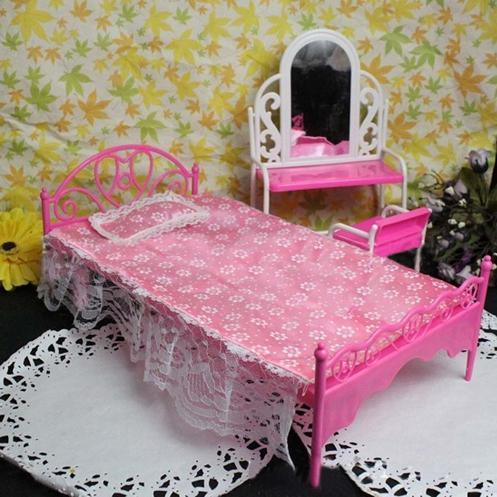 Kids Mini Fun Pink Doll Single Bed Lace Sheet Pillow Bedroom Furniture Furniture Accessories for Barbie Dollhouse Girl Dolls Toy