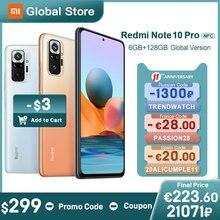 Versão global xiaomi redmi nota 10 pro 6gb 128gb smartphone snapdragon 732g 108mp câmera 120hz amoled exibição