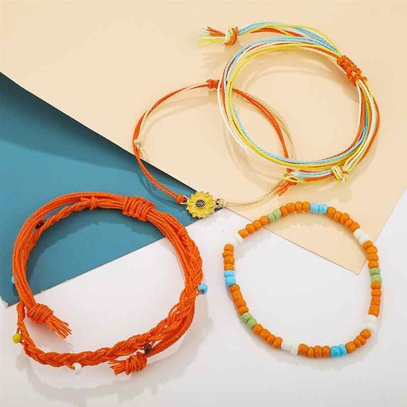 4 Uds pulsera tejida de estilo bohemio cuentas coloridas pulsera cadena trenzada a mano Cadena de cuerda de las mujeres accesorio de disfraz