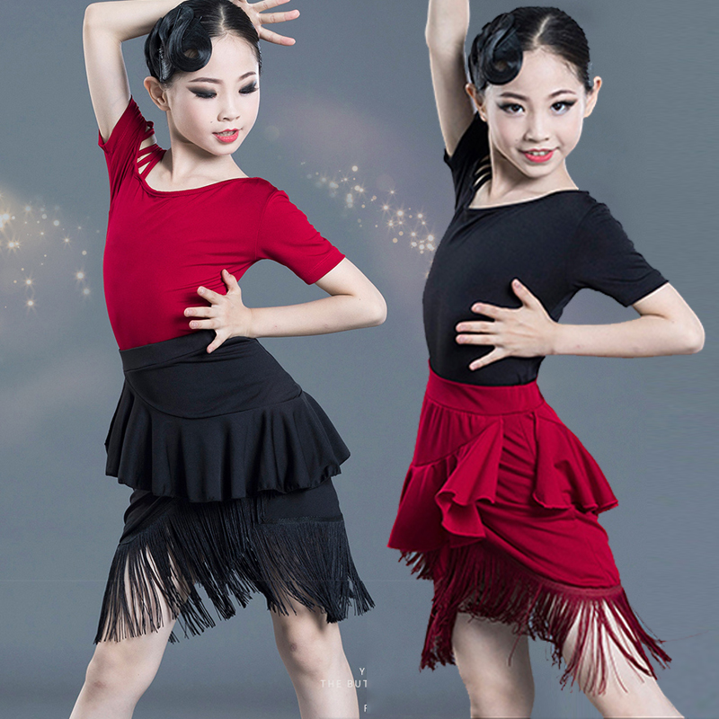 2 Pieces Set Children'S Latin Dance Dress Girls Tassel High Quality Milk Fiber Dress Female Latino Dance Dress For Girls DL4259