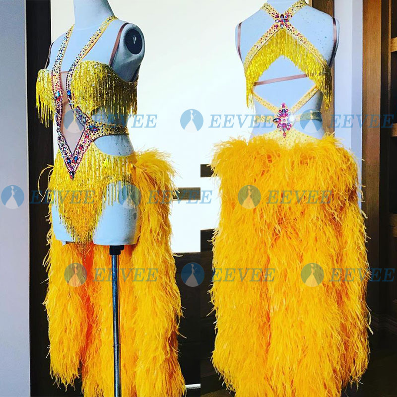 Customized Luxury Feather Skirt Latin Dance Competition Dress Sexy Beads Tassel Ballroom Dance Dress Lady Rumba Samba Dress