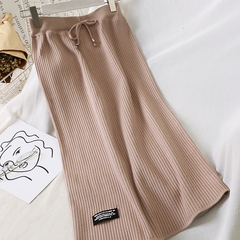 Skirts Womens Wool Knitted Pleated Skirt Stretched Waist Drawstings Lace Up Split Winter Long Skirt Female Clothing