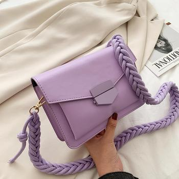 Women Candy Color Crossbody Bags Small Square Shoulder Handbags Female Purse Braided Design Classic Flap Crossbody Shoulder Bag