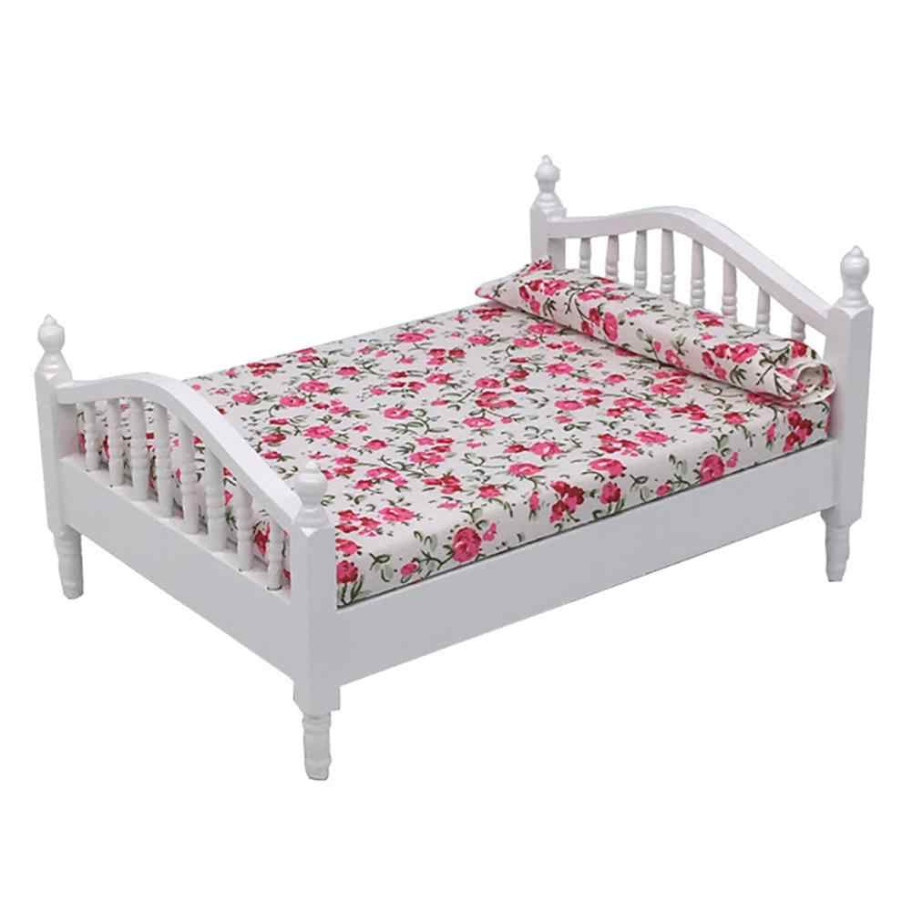Деревянный миниатюрный кукольный домик 1/12, двойная кровать, Цветочная фотомебель, детская игрушка, гостиная, Детская ролевая игра