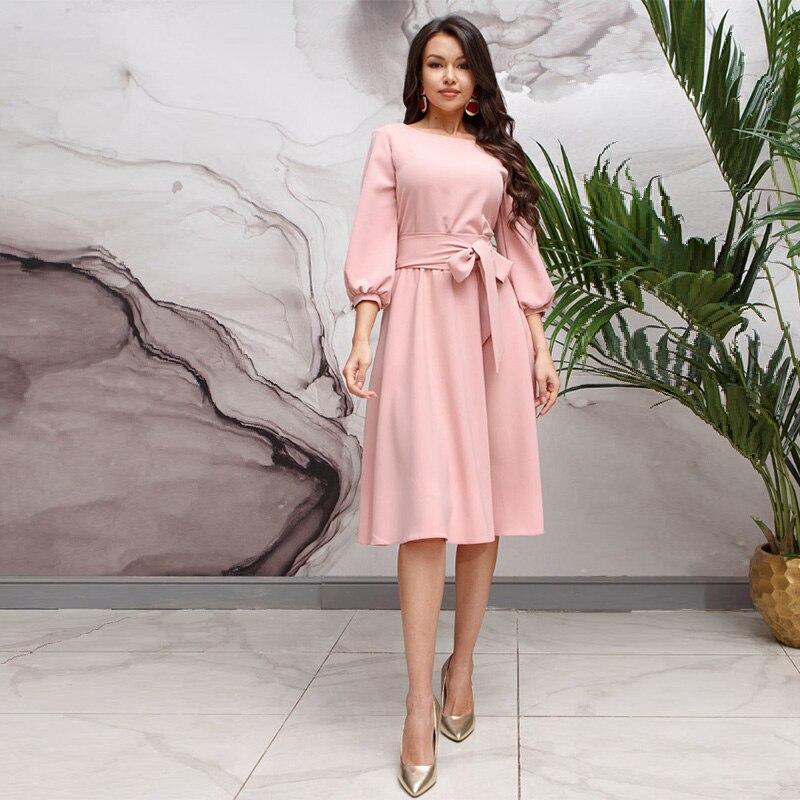 Women Casual Sashes Lantern Sleeve Dress Solid O Neck A Line Knee Length Dress 2019 Autumn Winter Vintage Elegant Party Dress