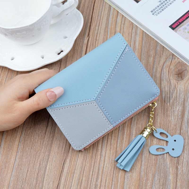 SHUJIN kadın küçük deri çanta kadın bayanlar kart çantası kadınlar için 2019 kadın çanta para klip cüzdan