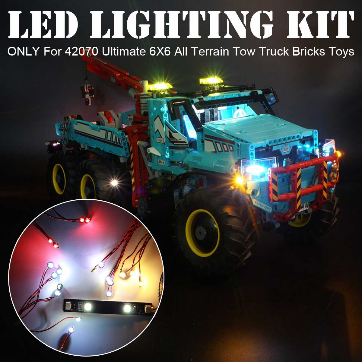 LED Light Kit for <font><b>LEGO</b></font> for <font><b>42070</b></font> Technic for Ultimate 6X6 All Terrain Tow Truck Bricks Toy (Only Light Included) image