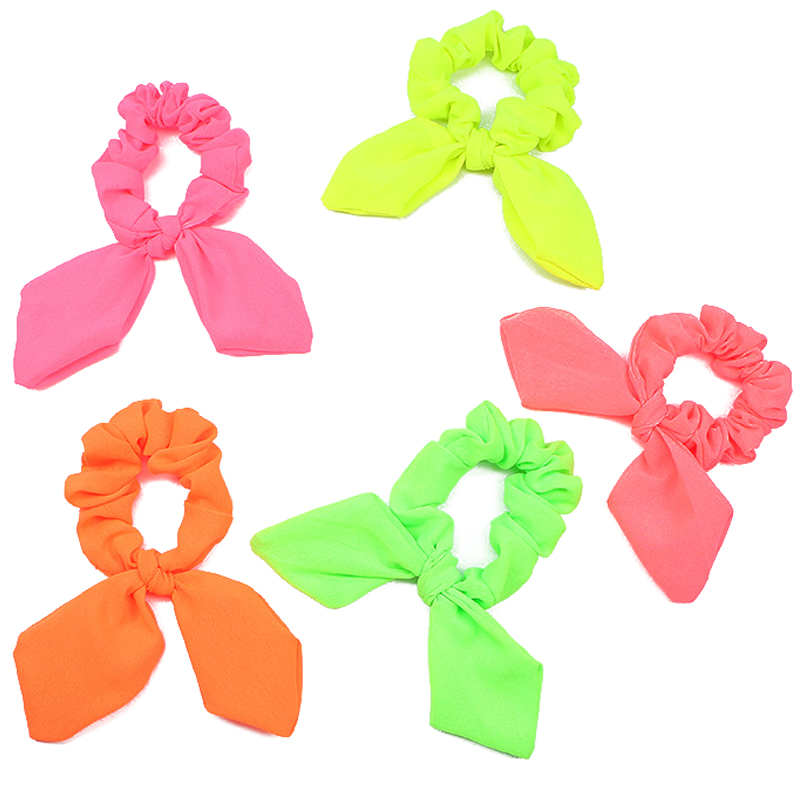 NEW Fluorescent Color Bow Hair Rope Rabbit Ears Scrunchie Elastic Hair Bands Ties Ponytail Holder Women Fashion Headwear