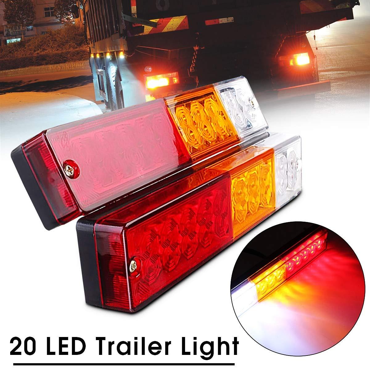 2pcs Truck Trailer Light 12V 20LED High Brightness Rear Lamp Turning Signal Indicator Light LED Brake Trailer Rear Lights