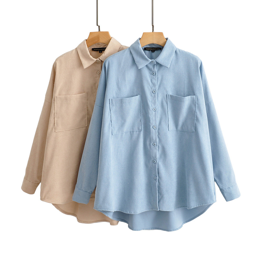 Vintage Corduroy Shirts Plus Size Boyfriend Shirts Long Sleeve Women Tops 2020 Spring Clothes