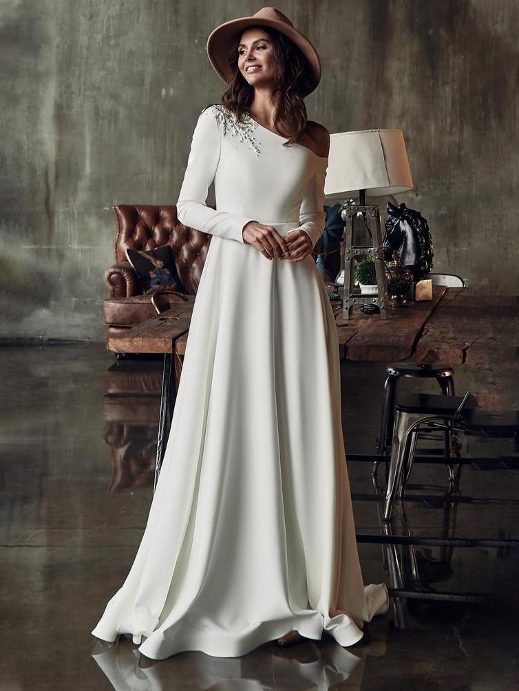 Атласное свадебное платье на одно плечо, винтажное, с длинным рукавом, с кружевными бусинами, специально изготовленное на заказ элегантное простое платье принцессы для невесты