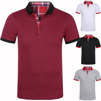 цена на Dropshipping 2019 Brand Mens polo shirt Solid Patchwork T Shirt Men Casual Cotton Top Tees Men Large S-3XL