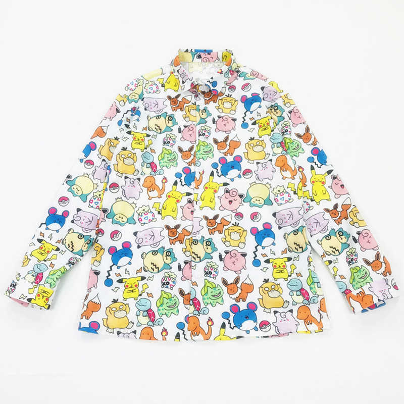 חדש קיץ חולצות נשים Harajuku קריקטורה חולצות Loose גרפיטי מודפס חולצות בציר קטן בעלי החיים ארוך שרוול חולצות נקבה