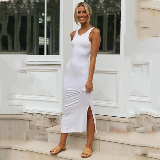 2020 New Fashion Solid Summer Dress Women Sexy Sleeveless Side Split Long Pencil Dress Slim Elegant Tank Maxi Vestido Robe Femme 4