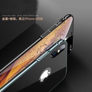 Image 4 - Ultra cienki 9H szkło hartowane etui na iPhone 7 8 Plus XS obudowa metalowa rama Anti knock pokrywa dla iPhone X XR XS Max 7 8 Plus Coque