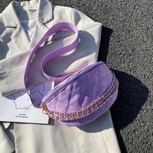 Diamond pattern chain Crossbody Bags For Women 2020 Luxury Shoulder Handbags Female Travel Purple Chest Bag cat pattern chain crossbody bag