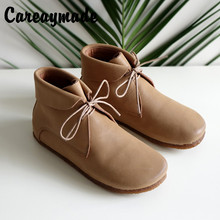 Careaymade-New autumn&Winter art RETRO lace ankle boots, handmade Genuine leather female shoes, flats round head Villus boots