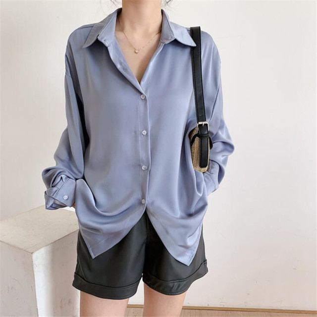 2020 Autumn Women Fashion Long Sleeves Satin Loose Blouse Vintage Femme V Neck Street Shirts Elegant Soft Blouse OF7527 2