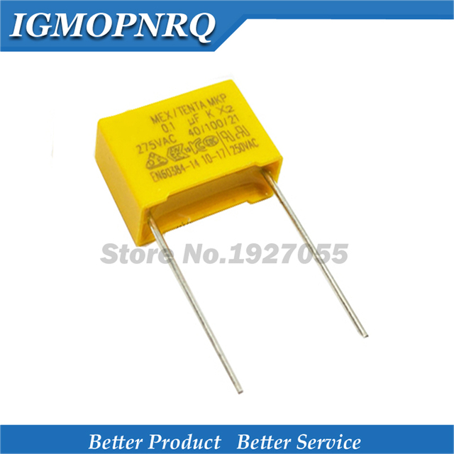 20 Pcs 275VAC 100nF Condensator X2 Hoge Kwaliteit 275VAC Pitch 15 Mm X2 Polypropyleen Film Condensator 275V 0.1 Uf nieuwe