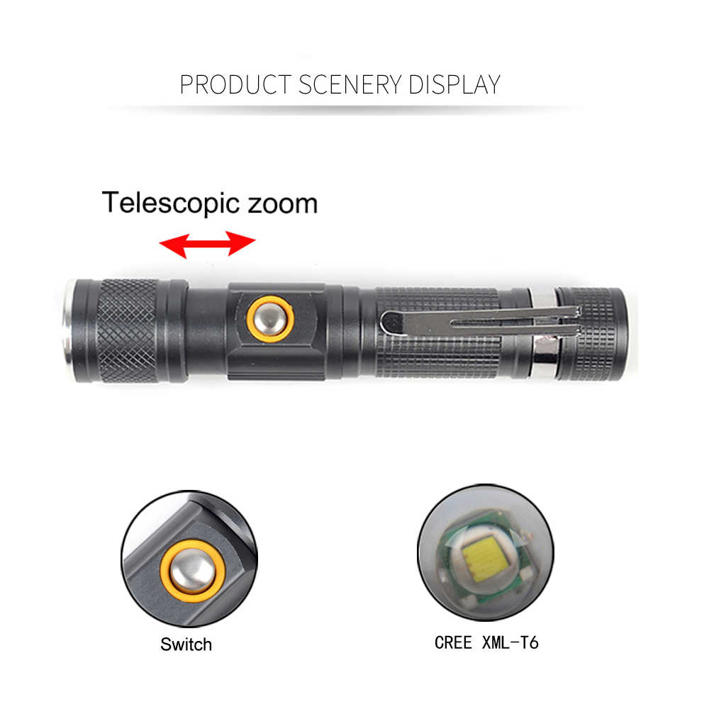 8000 Lümen Zumlanabilir T6 El Feneri 3 Mod Taktik Doğrudan Şarj Meşale Taşınabilir Alüminyum 18650 Pil kullanın