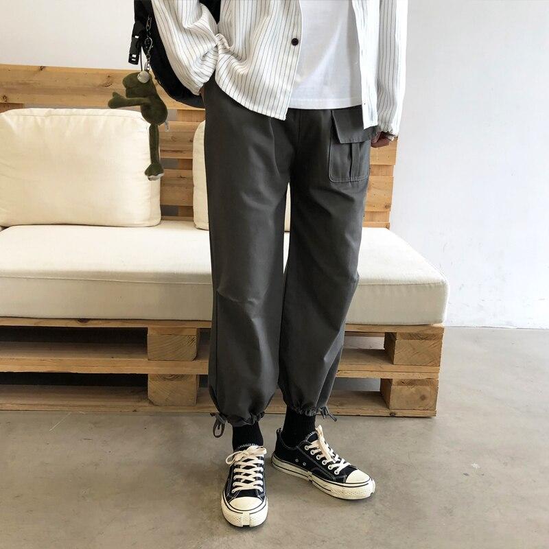 Men's Cargo Pants Pulling Rope Casual Pants Loose Pure Color Trousers Active Elastic Hip Hop Joggers Sweatpants Big Size M-5XL