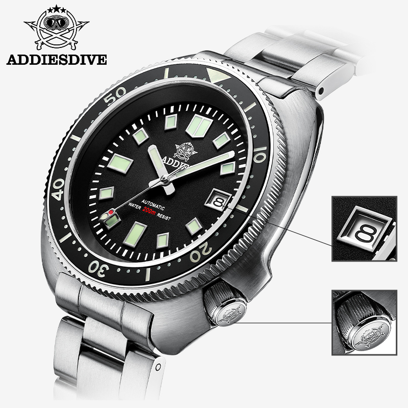 1970 Abalone Dive Watch 200m Sapphire crystal calendar NH35 Automatic Mechanical Steel diving Men's watch 3