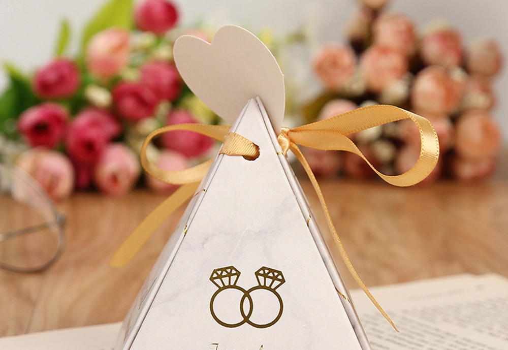 Triangular Pyramid Marble Candy Box Wedding Favors and Gifts Boxes Chocolate Box for Guests Giveaways Boxes Party Supplies-16