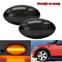 2pcs 3528SMD 3W auto Side Marker LED Water Flow Turn Signal Lights Lamps For BMW Mini Cooper R50 R52 R53 Turn Signal Light Lamp 1pair steering light fender side lamp hot sale dc12v blade shape auto car led side lights marker turn signal lights