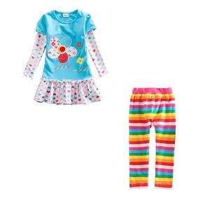 Image 3 - Meninas conjuntos de roupas meninas roupas até o joelho vestido + leggings crianças roupas ternos padrão estampado vestidos + calças ternos 3 8y